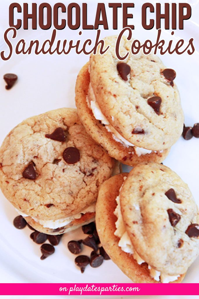 Take the simple, chocolate chip cookie and turn it into a dessert worth raving about. They're the perfect sweet treat for holiday platters or any other special occasion. #chocolatechip #chocolate. #cookies #dessert #frosting #icing #buttercream
