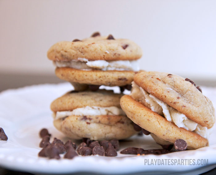 Grab a glass of milk and relax as you enjoy these decadent and delicious chocolate chip cookie sandwiches.