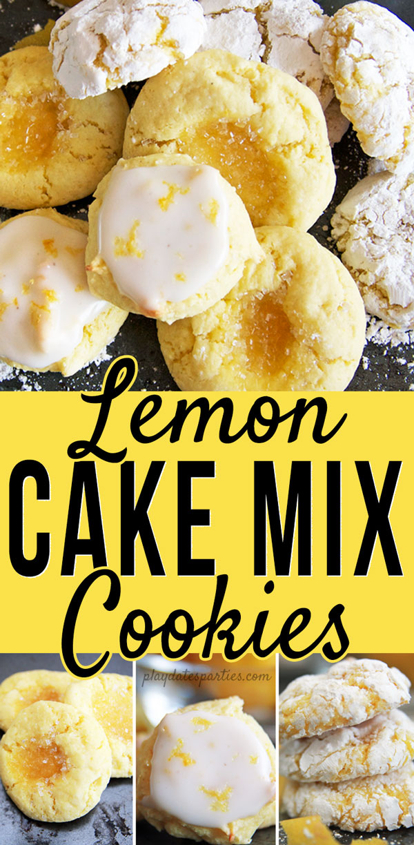 These easy lemon cake mix cookies are soft and delicious, and you get to decide how tart you want them! Choose between sugar coated cookies, thumbprint cookies, or with a lemon glaze. #lemon #dessert #cookies #easyrecipes #pdpsweets