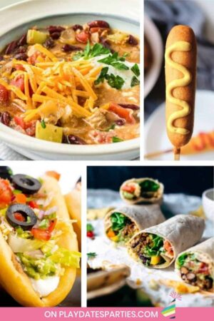 collage of chili, corn dogs, tacos, and burritos
