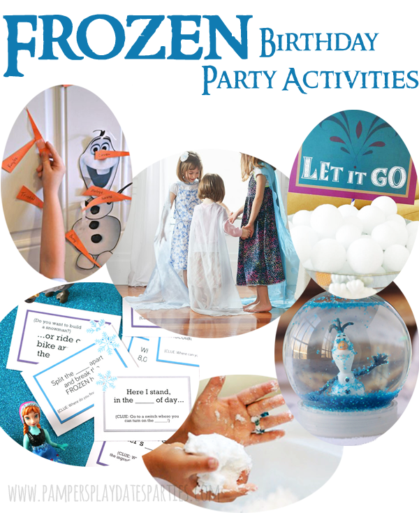 A complete inspiration guide for a Frozen birthday party, including birthday cakes, menu ideas, decor, activities, favors, and printables.