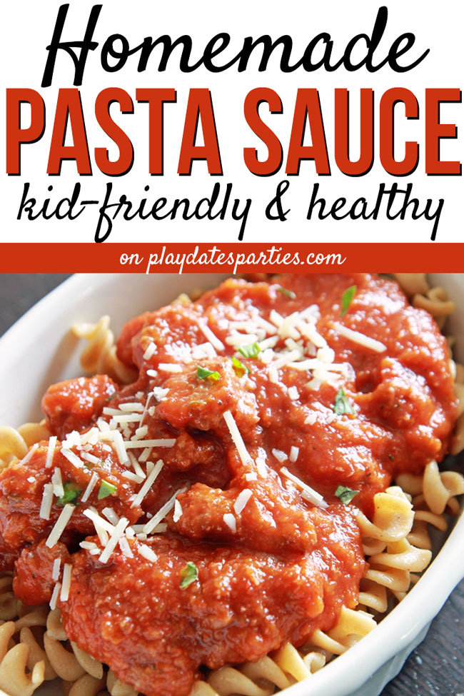 After years of begging my Italian father for the family pasta sauce recipe, I had to learn to make my own. And boy did I! I love making a big batch of this sauce so weeknight meals are nice and easy. Plus this homemade spaghetti sauce is made with tons of vegetables, no sugar, and is nice and smooth so the kids don't realize how healthy it is. Yum! #pasta #easyrecipes #dinner