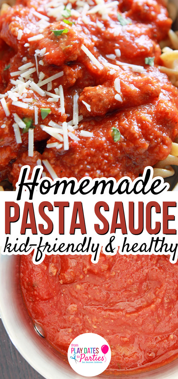 Homemade spaghetti sauce is just the best. And I love that this pasta sauce recipe is made from scratch with lots of vegetables, making it perfectly sweet with no sugar added. The ground beef adds a nice meaty texture that is perfect for other pasta recipes too. You won't want to miss my secret tip for how to make this healthy recipe perfect for kids, too! #spaghettidinner #healthyrecipes #recipe