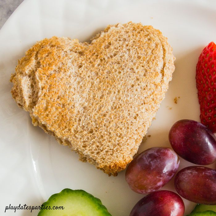 simple heart shaped sandwich