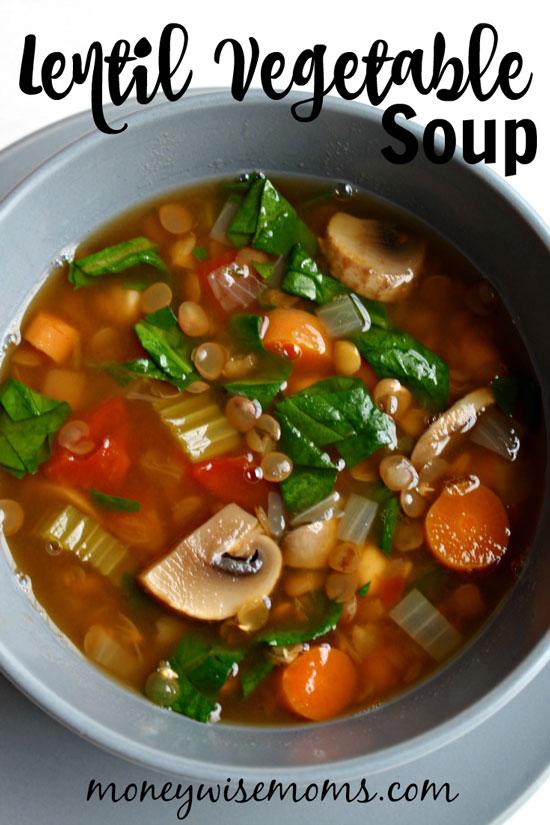 Lentil Vegetable Soup by Moneywise Moms