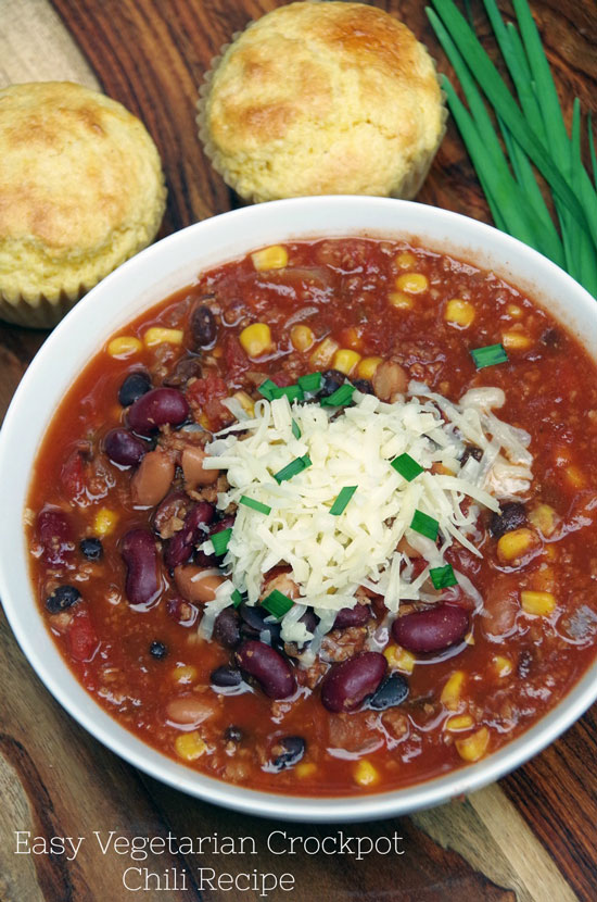 Vegetarian Crock Pot Chili by Turning the Clock Back
