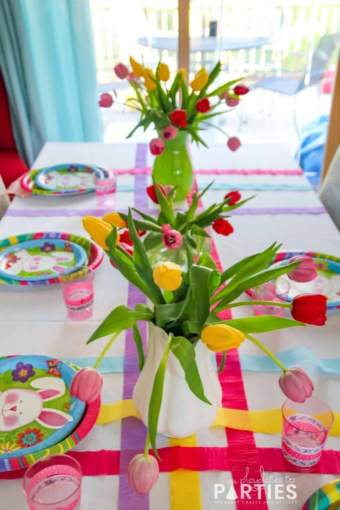 Side view of Easter table setting for kids inspired by Fancy Nancy