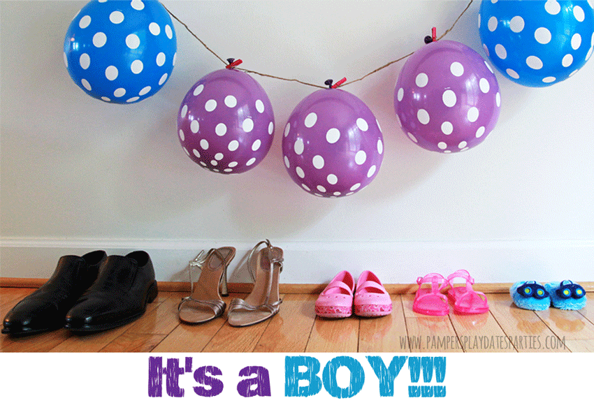 Two adorable gender reveal photos. One with a lineup of family shoes and the other in black and white with the siblings showing a lollipop.