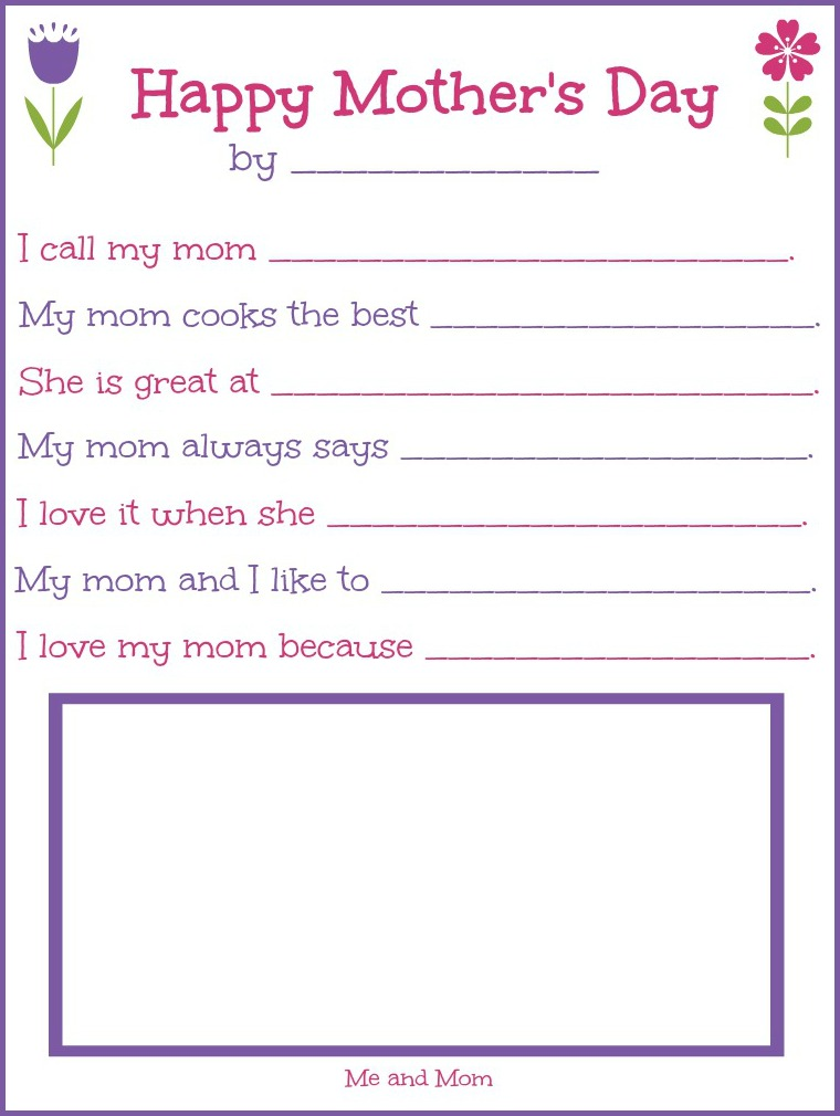 Wondermom Wannabe Free Printable Mothers Day Fill in