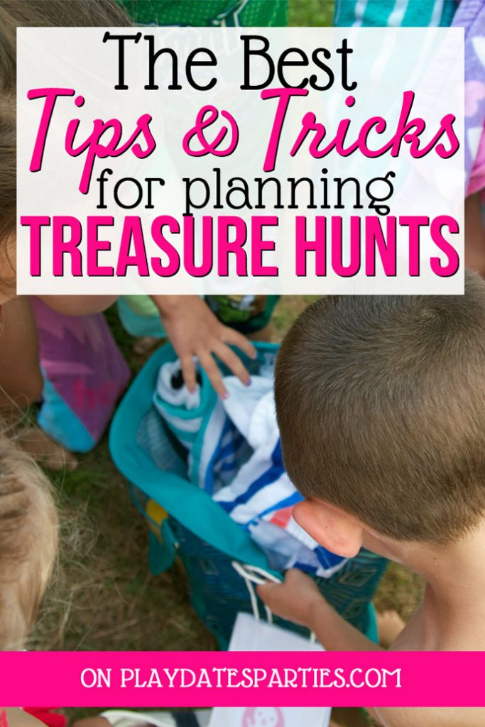A photo of kids reaching into a bag with the text The Best Tips and tricks for planning treasure hunts