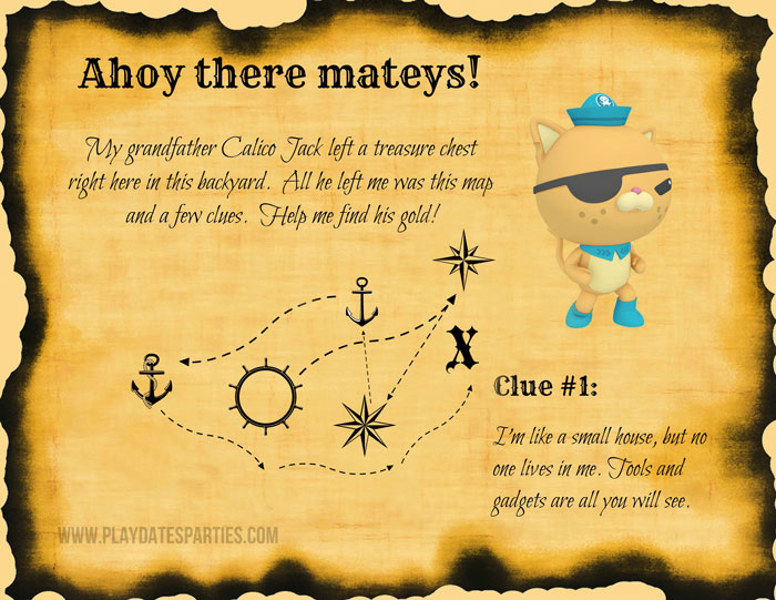 An image of a treasure map with an Octonauts theme, some words from Quazzi and the first clue