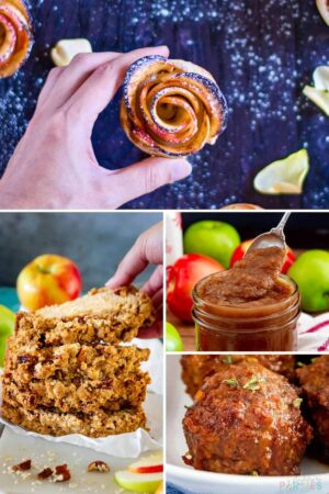 Collage of recipes: apple roses, apple bread, apple butter, and apple meatballs.