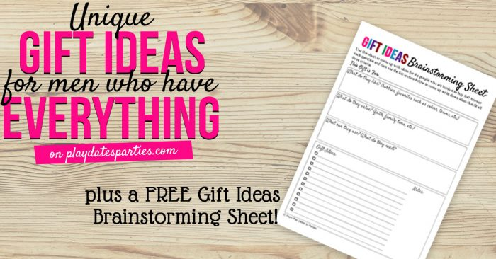 Gift ideas brainstorming sheet