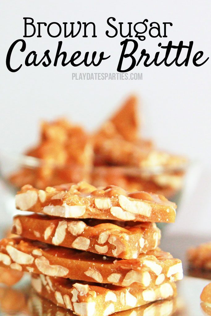 Once you take a bite of this easy brown sugar cashew brittle, you'll be hooked. This recipe is perfectly sweet with hints of toffee and vanilla, the cashew nuts provide the perfect amount of crunch. It's the perfect holiday candy to give away at Christmas or any time of year. #homemadetoffee #toffee #holidaybaking #holidaycandy #candy #holidaycandy #candyrecipes