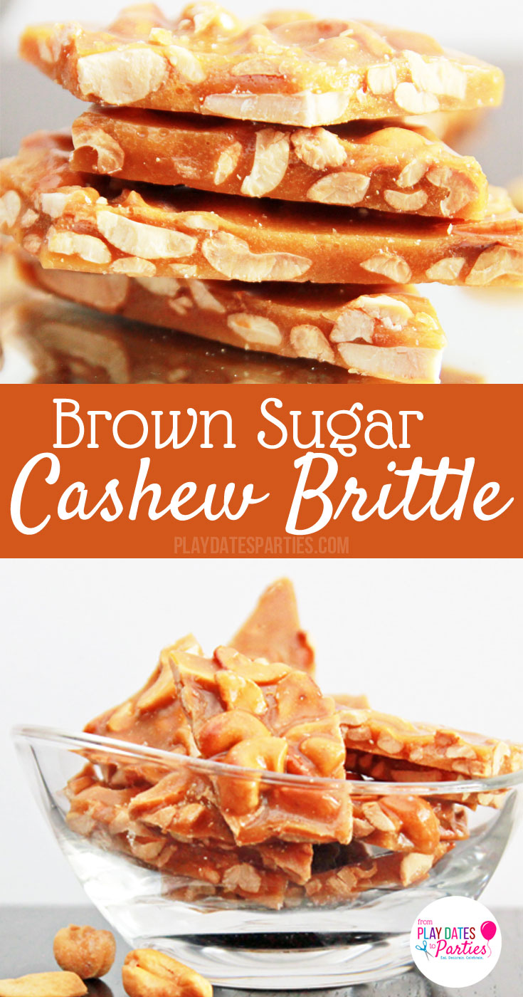 If you love peanut brittle, you're going to love this recipe for homemade brown sugar cashew brittle. Crunchy and sweet with hints of toffee and vanilla, it's the perfect holiday candy for gift giving.  Make a big batch and put it in gift bags for friends, neighbors and co-workers at Christmas or any time of year #homemadetoffee #toffee #holidaybaking #holidaycandy #candy #holidaycandy #candyrecipes