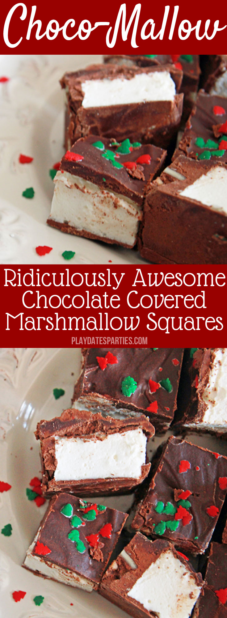 Homemade #Marshmallows get a makeover even adults will love with choco-mallow candy. Just a touch of coffee, dark chocolate, and toasted nuts turn this chocolate and marshmallow #candy #recipe into a sophisticated treat for everyone in the family.