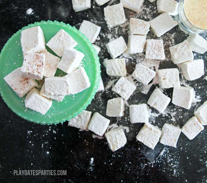 Eggnog marshmallows are the perfect holiday treat to add to a cup of hot chocolate for the kids or as a delicious holiday creamer in your coffee.