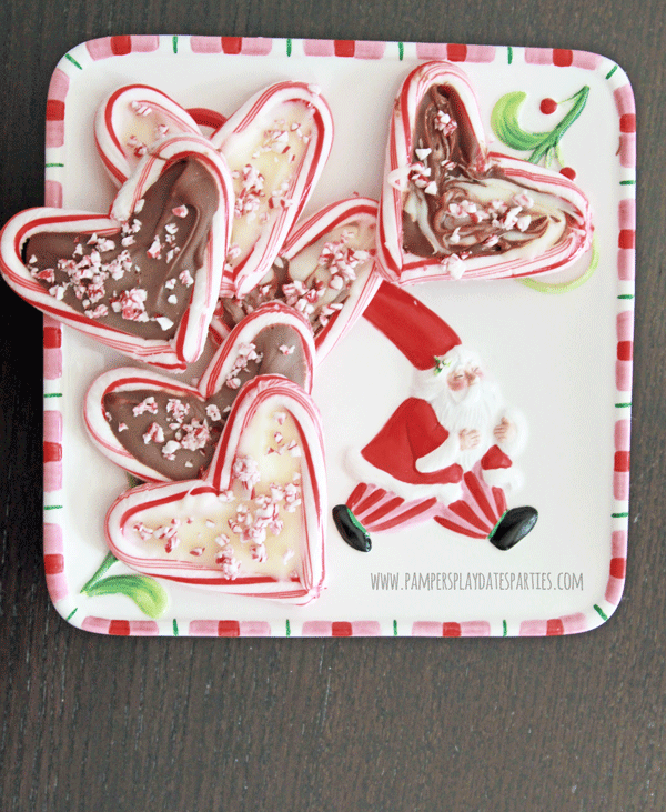Heart shaped chocolate bark with candy canes