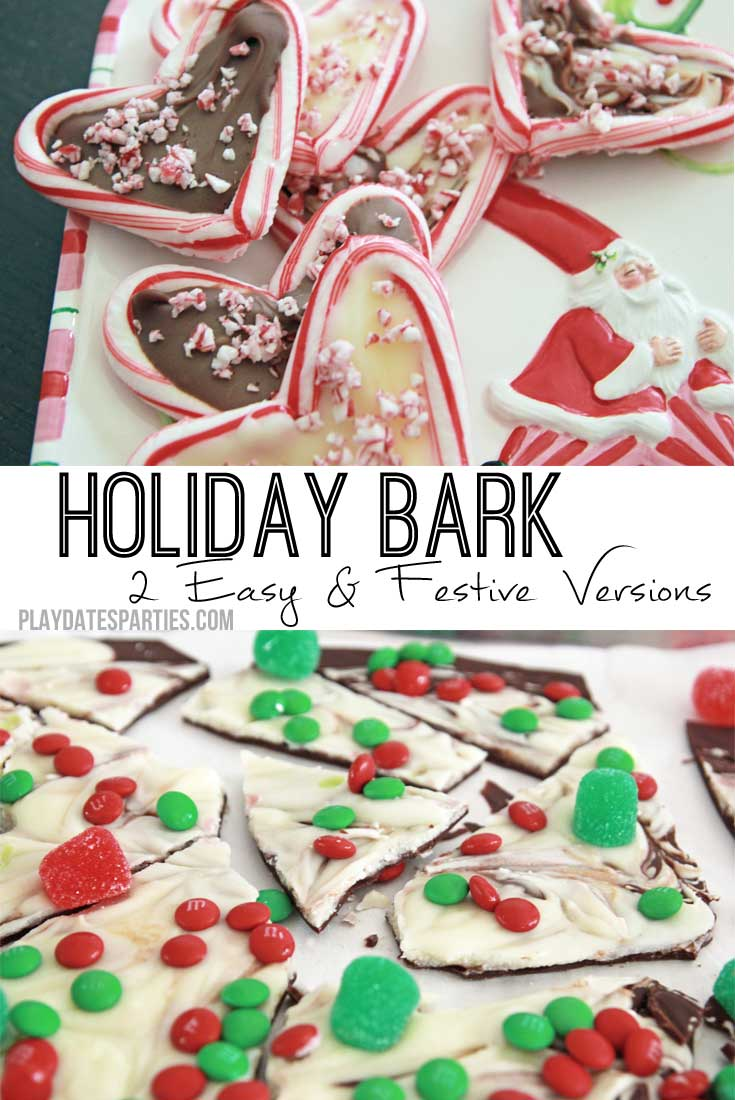 Whether it's candy-filled holiday bark or peppermint holiday bark, these two chocolate bark recipes are easy crowd pleasers.