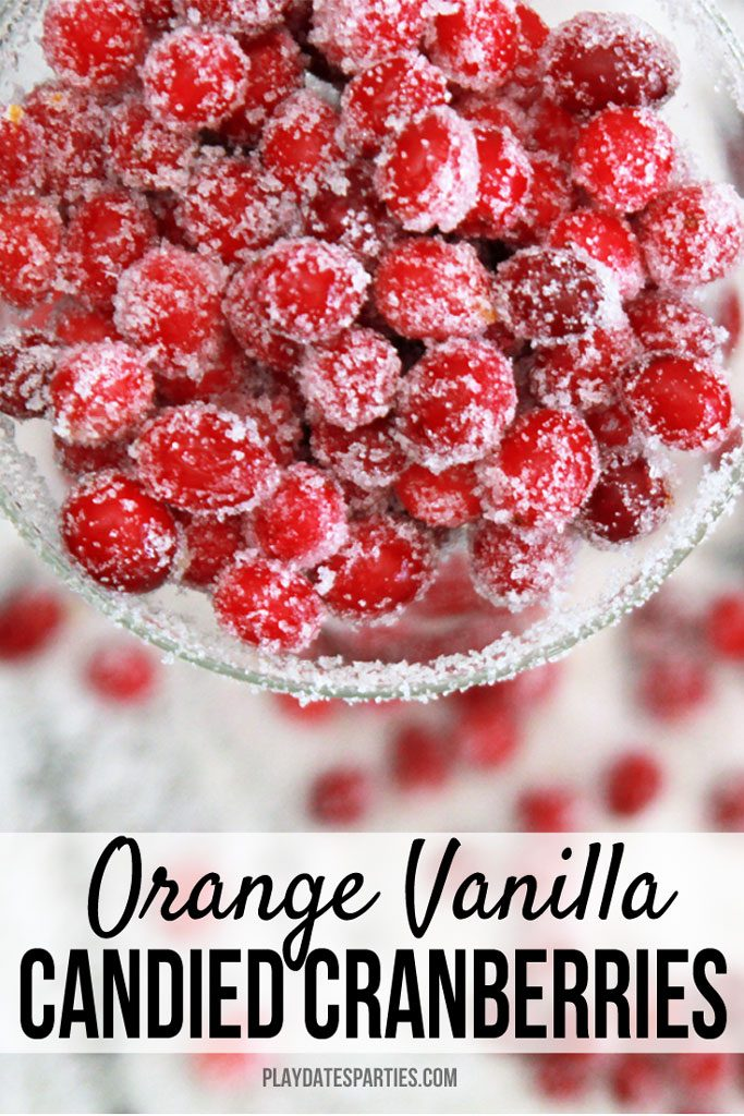 Orange vanilla candied cranberries are too good to pass up! These holiday treats are the best desserts to make for your Christmas party, or for coworkers at the office. Best of all, they're a simple no bake homemade treat that everyone loves (even our 3-year-old!) #cranberries #christmas #partyfood #desserts #holidays #christmasrecipes #christmascandy #holidaysweettreats