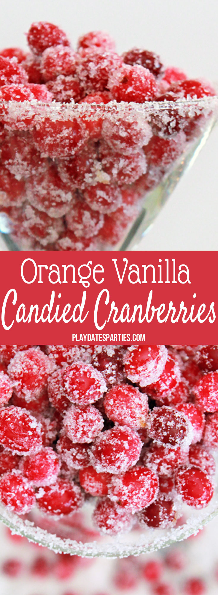 Friends and family are always asking me to make this orange vanilla candied cranberries recipe for Thanksgiving and Christmas desserts. Best of all, they're so simple to make and SO pretty! These sugar coated holiday treats are the perfect unique treat for parties and for coworkers at the office. Yum! #cranberries #candy #christmasdesserts #recipe #easyholidayrecipes #holidayrecipes #christmasdesserts #holidayfood #holidaytreats