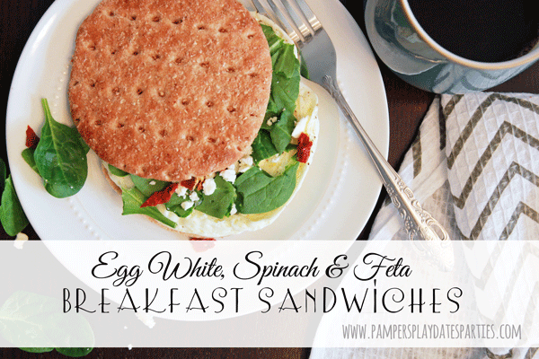 {Recipes} Egg White, Spinach, and Feta Breakfast Sandwiches