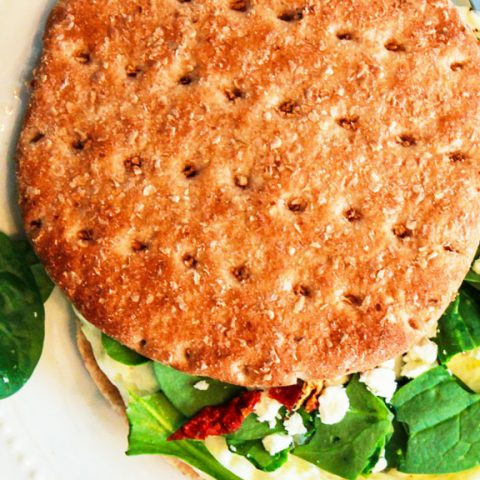Healthy Breakfast Sandwich with Egg White, Spinach, and Feta