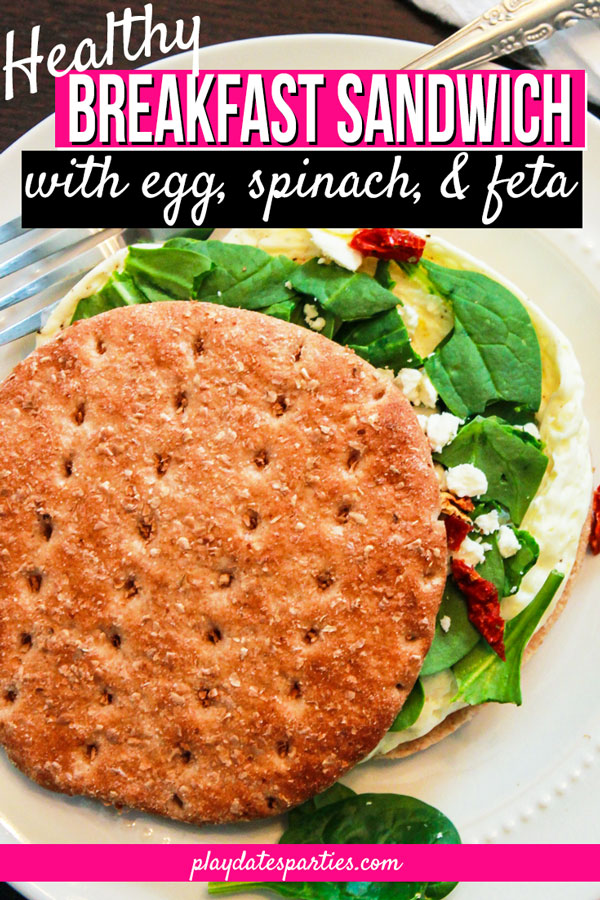 Healthy Breakfast Sandwich with Spinach and Feta
