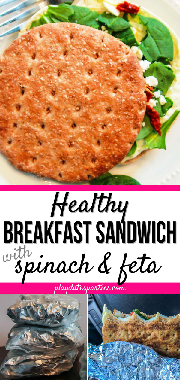 Weekday mornings are so hectic, but that doesn't mean you can't have an easy on the go breakfast ready to eat. This healthy breakfast sandwich recipe with eggs and feta is such a tasty vegetarian make ahead breakfast idea. Make several on your meal prep day to freeze for later. Then simply reheat them while you get ready yourself and the kids ready in the morning. #eggrecipes #breakfast #sandwich