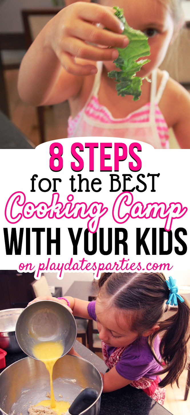 All it takes is a bit of planning and a lot of FUN to create a kids cooking camp at home. Head on over to playdatesparties.com to get all the details and get started today! #kids #summeractivities #cooking #pdpcooks #pdpkids