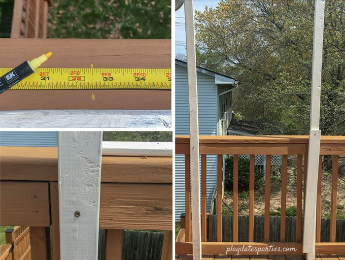 The first three steps for adding vertical supports for your deck privacy screen: marking the center point, screwing in the center post, and measuring out the first side post.