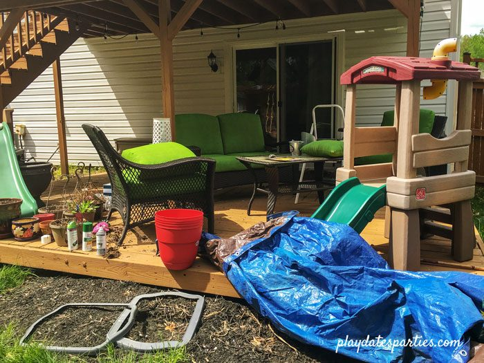 Family deck in disarray during renovations