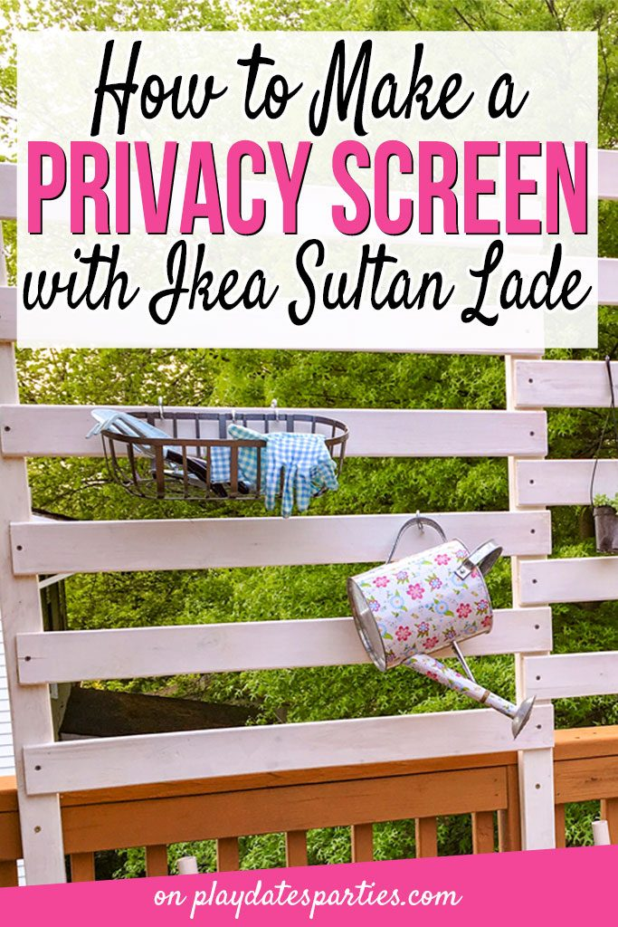 Want a little more privacy on your deck, but don't want to block out all the light? Head over to playdatesparties.com to learn how to make a deck privacy screen with Ikea Sultan Lade in only one weekend! #DIY #patio #upcycle #deck #pdpcreates