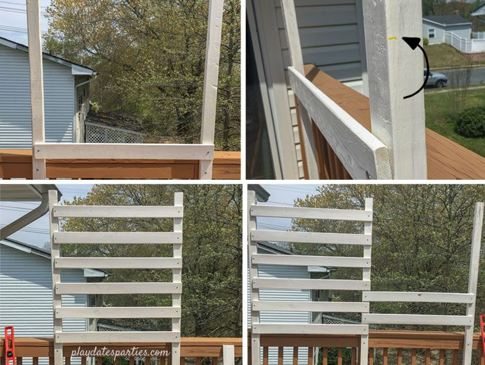 Adding Ikea Sultan Lade bed slats to the deck privacy screen: placing the first bar, marking the spacing, and adding the remaining bars.