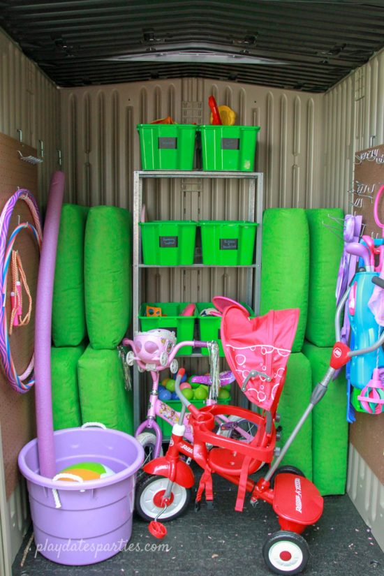 Outdoor Toy Storage Shed Completed With Shelving, Small Toy Boxes, Hanging  Toys, A