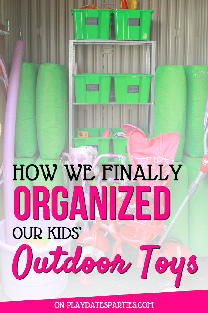 Why are outdoor toys so hard to get organized? Head over to playdatesparties.com for 5 fantastic tips to get your kids' outdoor toy storage organized once and for all! #kidstoys #kids #outdoors #toyorganization #toystorage #Ikea #pdpdecorates