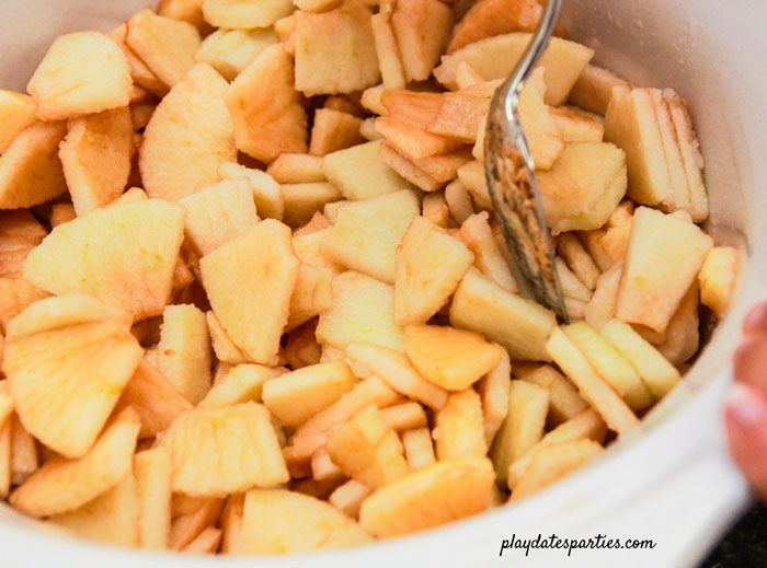 Add apples and remaining ingredients to crock pot and stir before cooking.