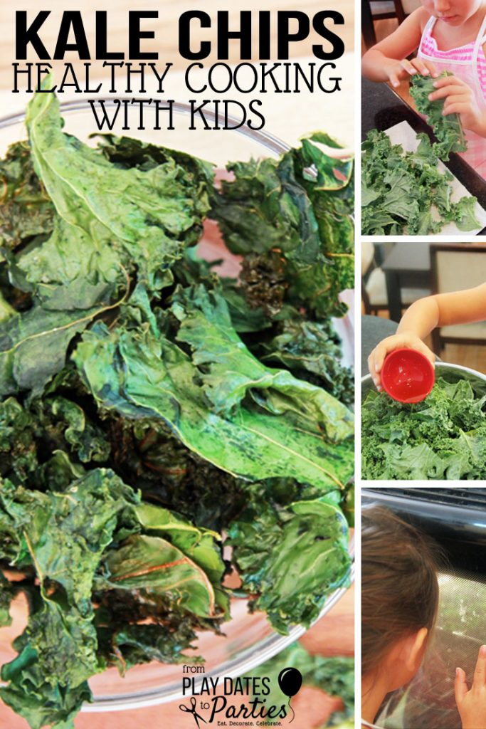 Making a kale chips recipe with kids?! Yes! Since the kids were home for the summer, I figured it was time to start teaching them how to love healthy foods, and that meant cooking with the kids instead of for them. And it all starts with easy recipes like this. #kids #healthyeating