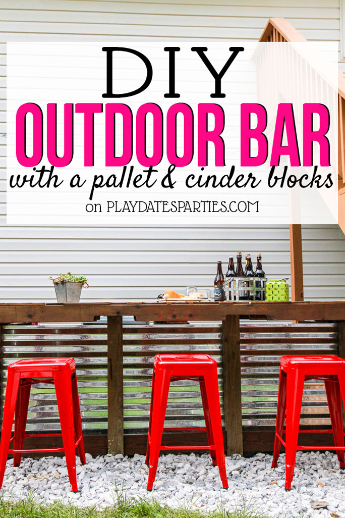 Diy Outdoor Bar With Cinder Blocks And A Pallet