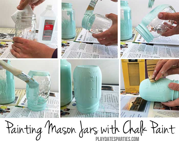 Step-by-step instructions for how to use chalk paint on glass jars.