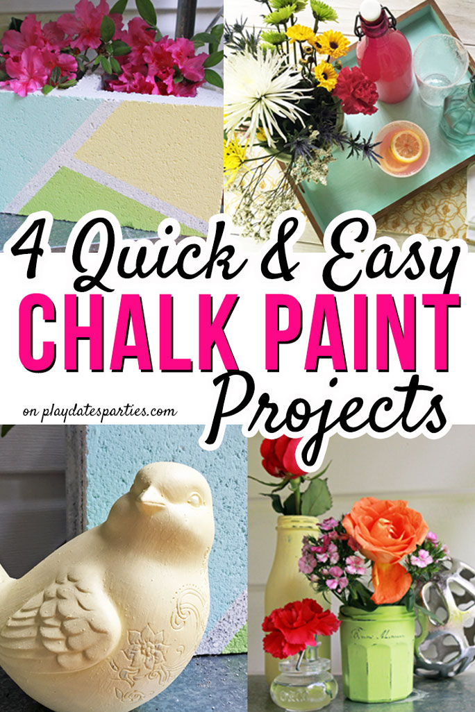 Want to try chalk paint, but not sure about the expense and effort? Head on over to playdatesparties.com to see how to make your own chalk paint AND how to use chalk paint in 4 fun and easy ways! #chalkpaint #paint #homedecor #DIYhomedecor #pdpdecorates