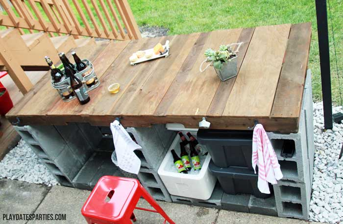 DIY outdoor bar shown from above.