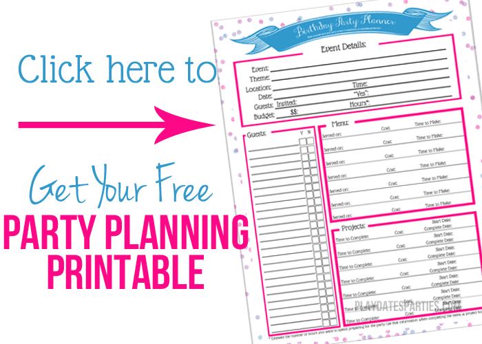 party planning printable to keep track of time and budget