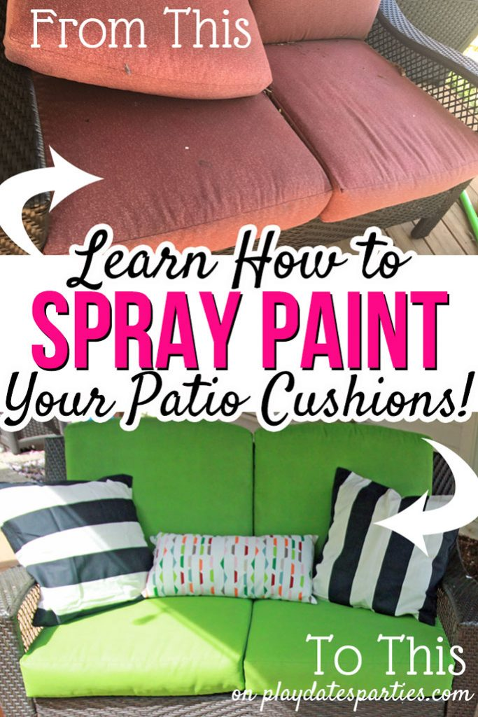 Tired of your dingy old patio set? Head over to playdatesparties.com to get all the tips & tricks for to give it a facelift with spray painted patio cushions with free printable instructions. #DIY #outdoors #patio #patioideas #patiofurniture #pdpdecorates