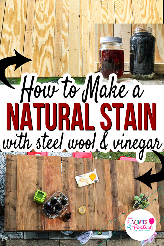 This is the place to get all the details on staining wood with steel wool and vinegar! It's the perfect wood stain technique to get a rustic look with brand new wood! #DIY #farmhousedecor #rusticdecor #pdpcreates