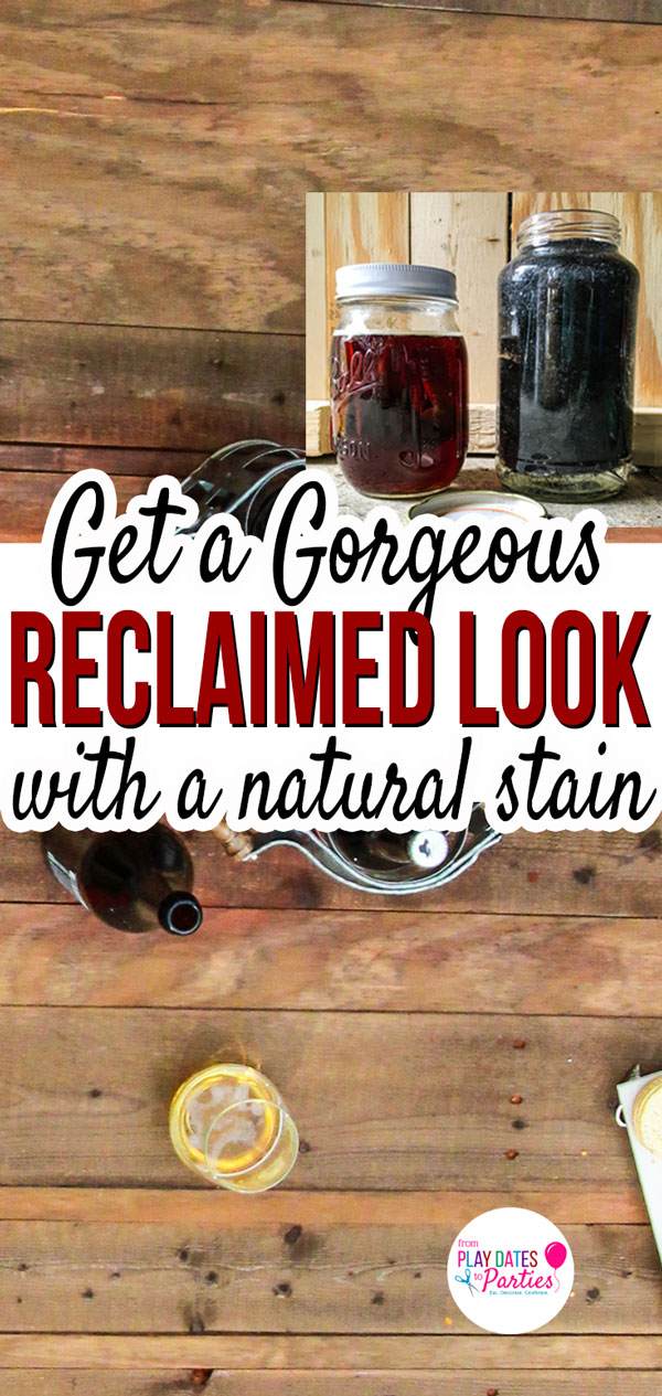 Want to get that gorgeous reclaimed wood look for your farmhouse design? Use steel wool and vinegar to create a natural stain that looks better than anything from a can. #DIY #farmhousedecor #woodworking #pdpcreates