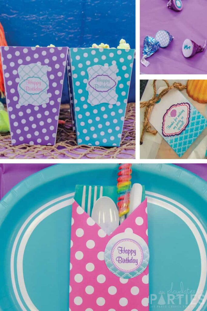 printable birthday party decorations including napkin wraps, popcorn boxes, kisses, and tags