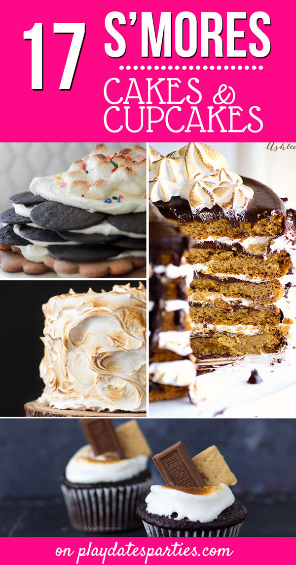 Whether you're looking for an easy s'mores cake for a casual get-together, or an impressive centerpiece for a birthday party, here are 17 insanely fun s'mores cakes you just have to see! #smores #dessertrecipes #partyideas #pdpcelebrates