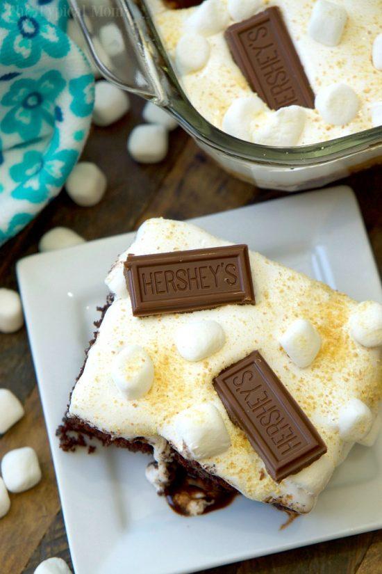 Amazing S'mores poke cake