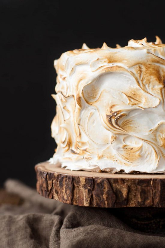 S'mores Cake with toasted marshmallow frosting
